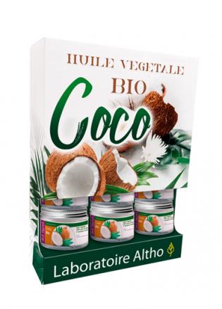 Présentoir huile végétale bio Coco