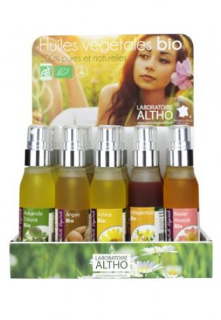 Présentoir huiles végétales bio