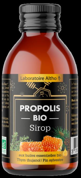 Sirop propolis bio aux huiles essentielles bio de Thym thujanol et Pin sylvestre
